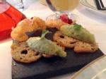 お通し2: アボカドディップと鰻のスモークとビートルート
